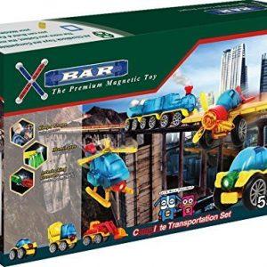ClickBlock X-Bar Premium Magnetic Construction Toy Complete Transportation Set 55 Piece