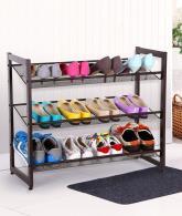 3-Tier Stackable Metal Shoe Rack Flat & Slant Adjustable Shoe Organizer Shelf2