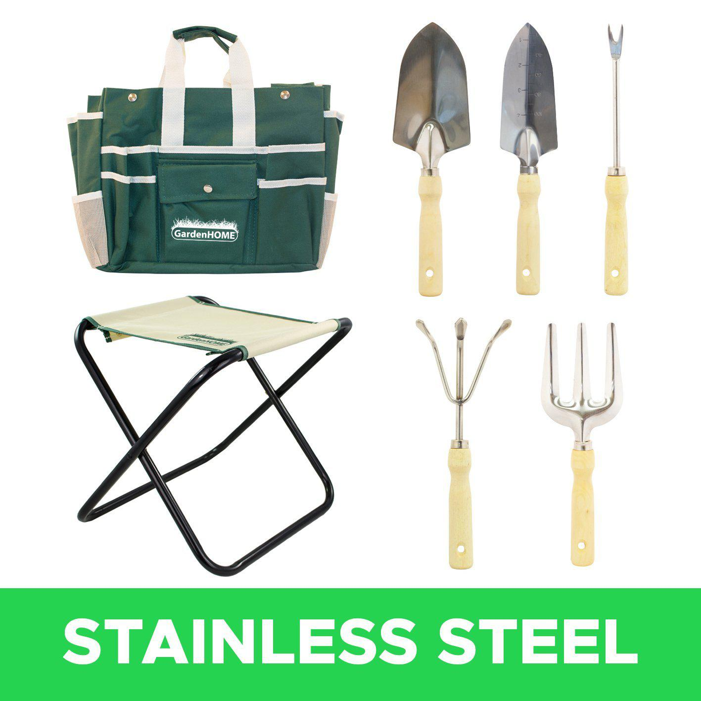 7 piece all in one garden tool set with 5 sturdy stainless for Gardening tools reviews