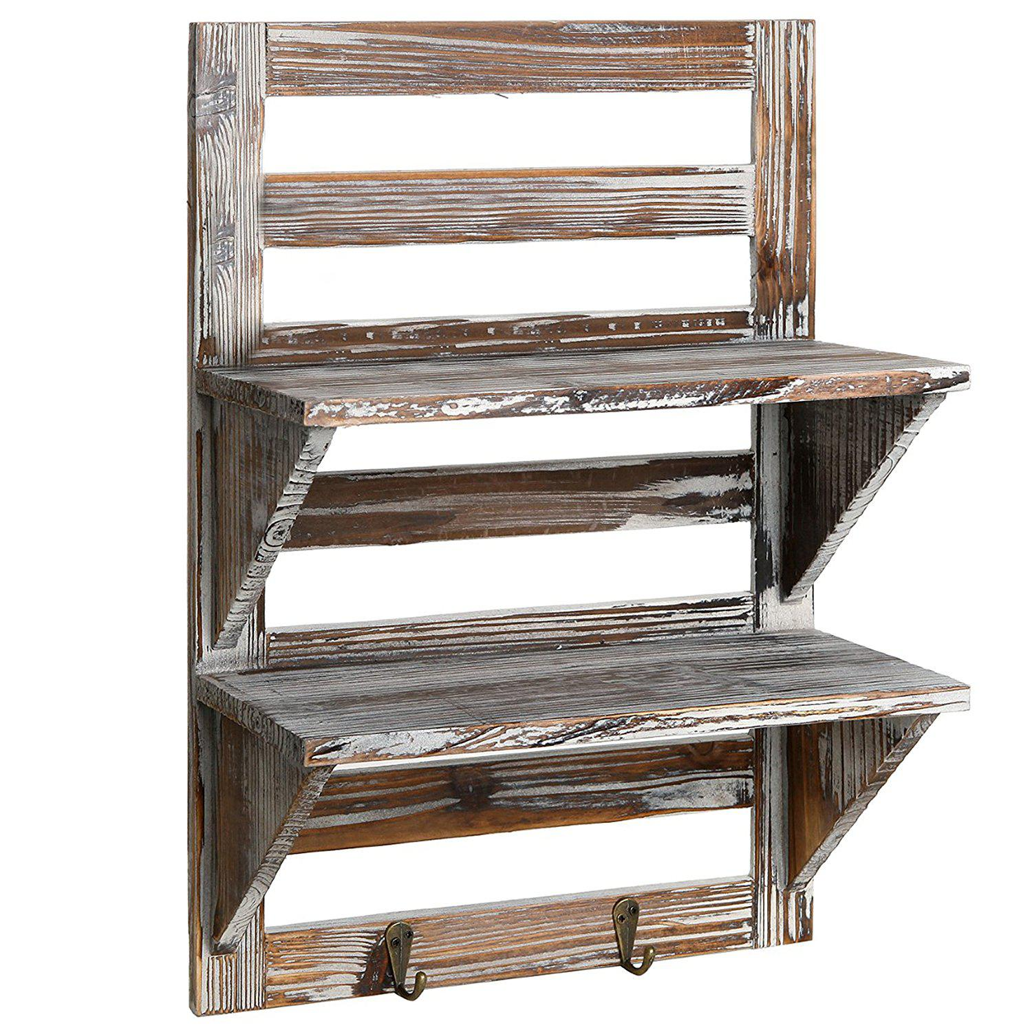 Mygift rustic wood wall mounted organizer shelves best