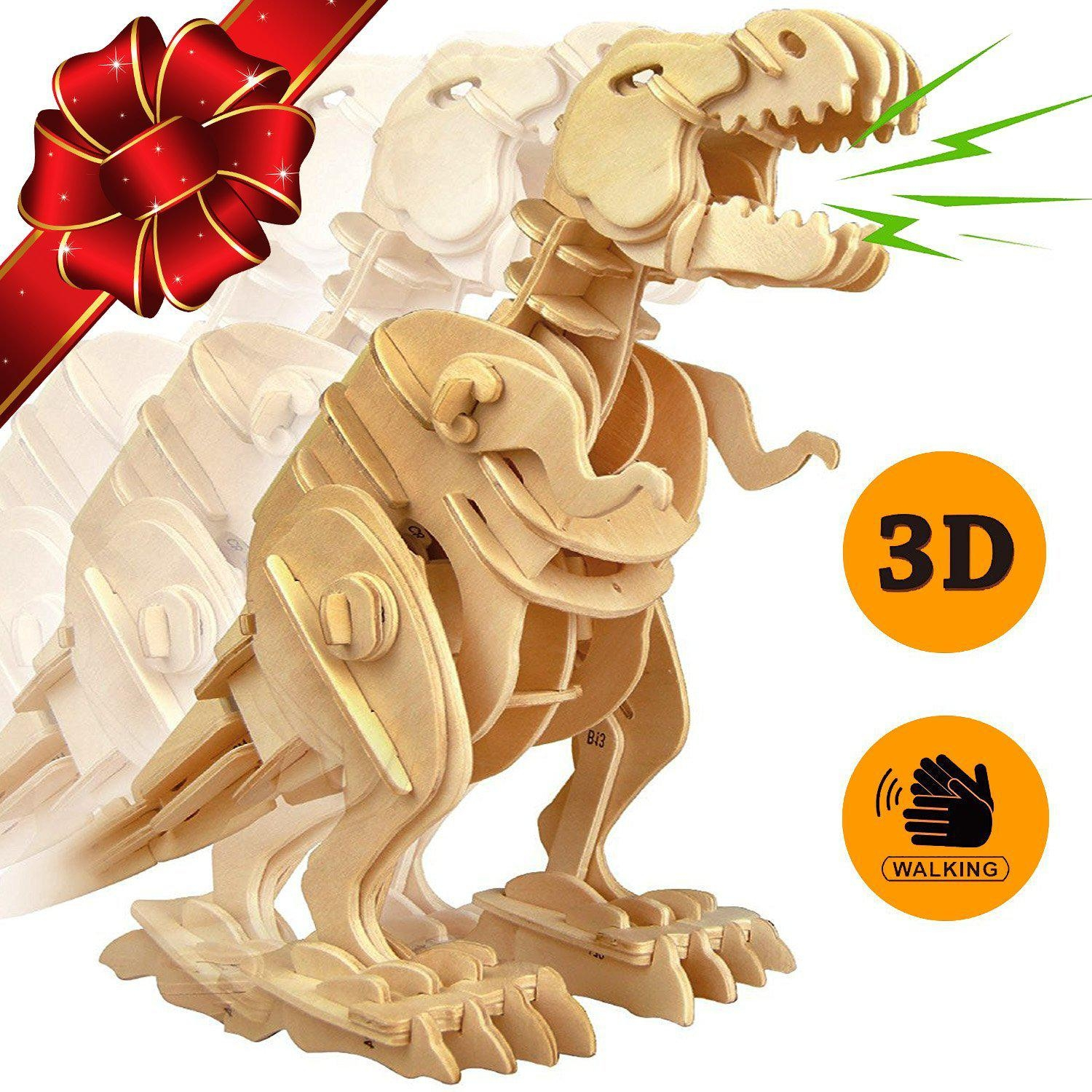 Trex Dinosaur 3D Puzzle Walking Wooden Robot Toy