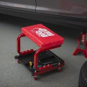 Padded Mechanic Stool with Tool Tray