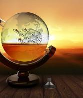 Whiskey Decanter Set World Etched Globe3