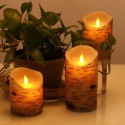 Birch Bark Battery Candles Real Wax Pillar with Remote Timer2