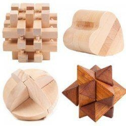 Large Wooden 3D Puzzle 4-Pack Mental Brainteaser