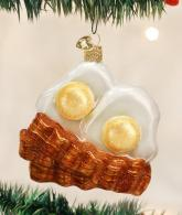 Old World Christmas Bacon And Eggs Glass Blown Ornament
