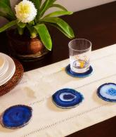 Set of 4 Blue Dyed Brazilian Agate Coasters with Rubber Bumpers3