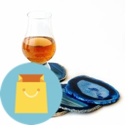 Set of 4 Blue Dyed Brazilian Agate Coasters with Rubber Bumpers