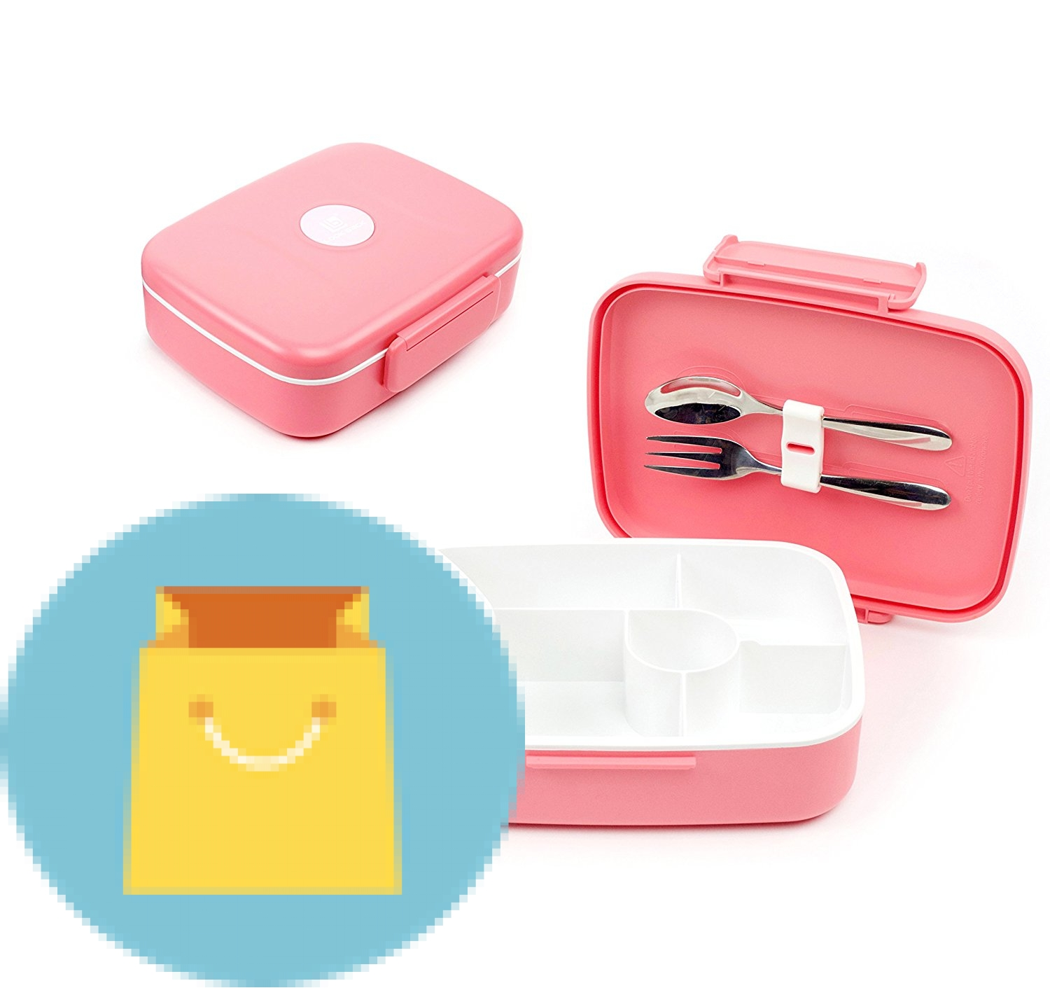 bento lunch box container with 5 compartments pink best offer. Black Bedroom Furniture Sets. Home Design Ideas