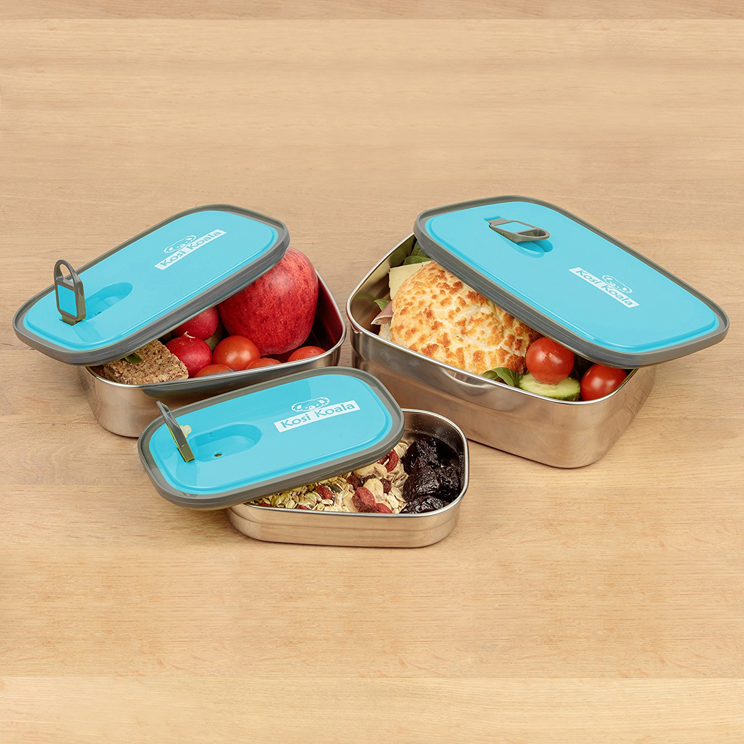 bento lunch box stainless steel food containers blue set of 3 best offer. Black Bedroom Furniture Sets. Home Design Ideas