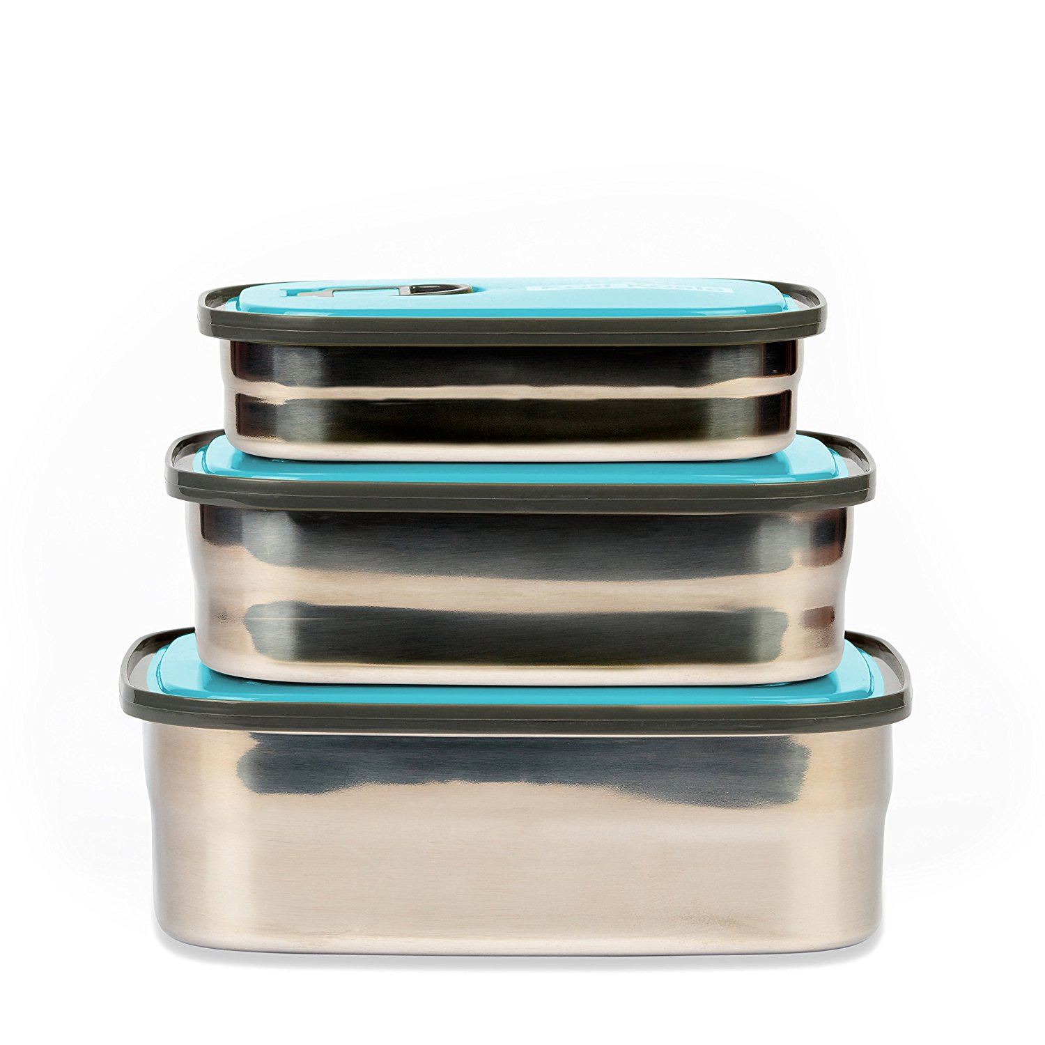 bento lunch box stainless steel food containers blue set of 3 best offer reviews. Black Bedroom Furniture Sets. Home Design Ideas