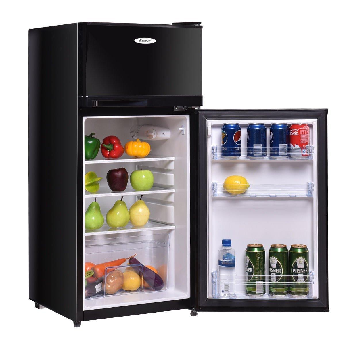 Costway 3.4 Cu. Ft. 2 Door Compact Mini Refrigerator Freezer Cooler