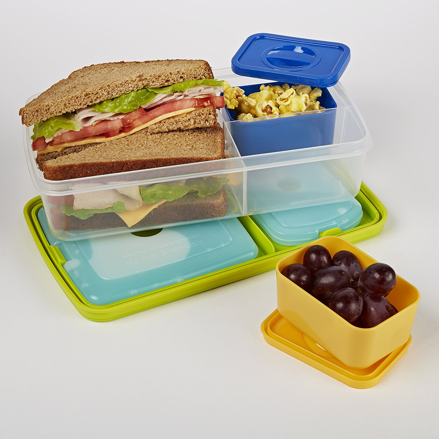fit fresh bento box lunch kit with reusable plastic containers best offer. Black Bedroom Furniture Sets. Home Design Ideas