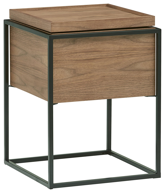 Rivet axel lid storage wood and metal side table best