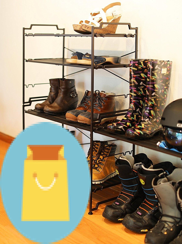 SimpleHouseware 3 Tier Stackable Shoe Shelves Utility Storage Rack