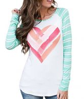 Lovaru Womens Tunic Tops Valentine's Day Heart Print Striped Long Sleeve T Shirt Blouse