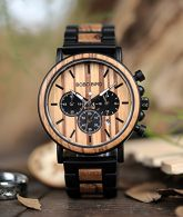 Mens Wooden Watch Large Size Luxury Stylish Chronograph Sports Military Quartz Wood Wirst Watch Wood & Stainless Steel Combined Watches 3