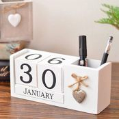 LANGUGU Shabby Chic Vintage Creative Pen and Pencil Holder Storage Box Wooden Cubes Perpetual Desk Calendar Decoration Home Office Furnishing DIY Yearly Planner Calendar Shops Ornaments (White)