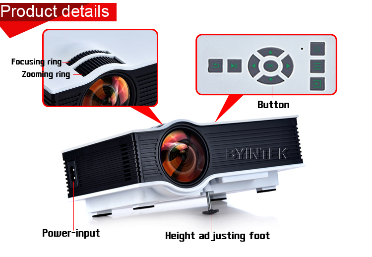 Byintek bt400 uc40 mini lcd projector 1800 lumens support for Best small hd projector