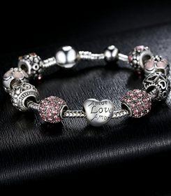 "Bamoer Fashion Jewelry Charm Bracelet with Amor Love Heart Crystal Beads for Women Girls Teen Gift 20cm 7.87"" 2"