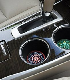 LogHog Car Coaster Pack of 2 ,Mandala Style Absorbent Car Cup Holder for Drinks (Mandala Style) 1