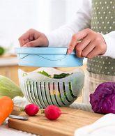 Salad Cutter Bowl 60 Seconds Salad Maker Fruit Vegetable Bowl Cutter-Fast Fresh Salad Slicer, Salad Chopper (Blue) 2