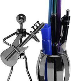 Gun Metal Gray Pencil Pen Holder , Guitar Theme Supply Office Organizer for Desktop Decoration Stand Container -Owlgift