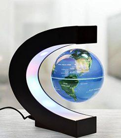 Floating Globe, Gopush Multi-Color Changing C Shape Magnetic Levitation Floating Globe World Map with LED Lights for Children Gift Home Office Desk Decoration (Blue) 2