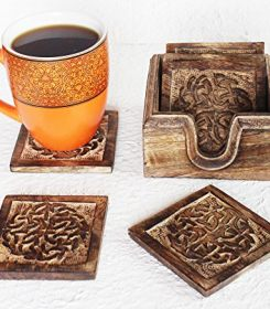 Set of 6 Wooden Coasters with Hand Engraved Holder- For Tea & Coffee Cups, Mugs, Beverages, Glass Drink Mats (Celtic Knot)