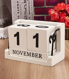Jeteven Vintage Wood Perpetual Calendar, Shabby Chic Blocks Desktop Calendar Home Office Decoration, White, 4.33''X2.17''X2.95'' 1