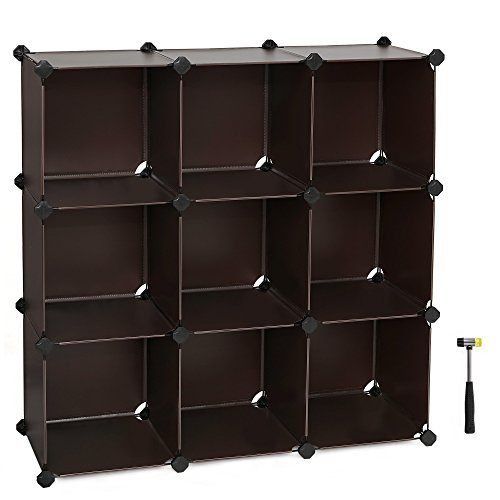 bookcases organizer amazon cube modular plastic closet units bookcase cabinet storage diy dp translucent included com anti songmics toppling