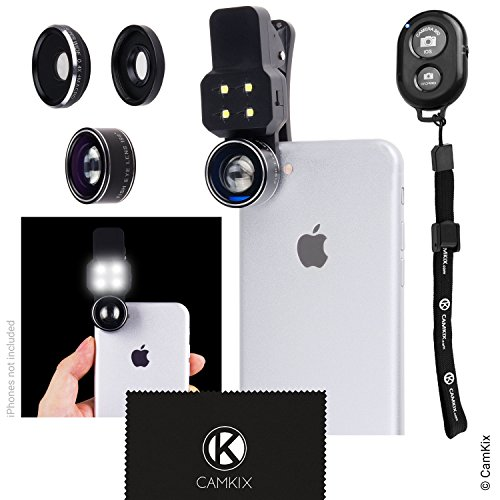 camera lens kit with led light for smartphone tablet bluetooth remote fisheye best offer. Black Bedroom Furniture Sets. Home Design Ideas