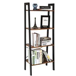 SONGMICS 4 Tier Ladder Shelf Bookcase Garden Bathroom Storage Vintage
