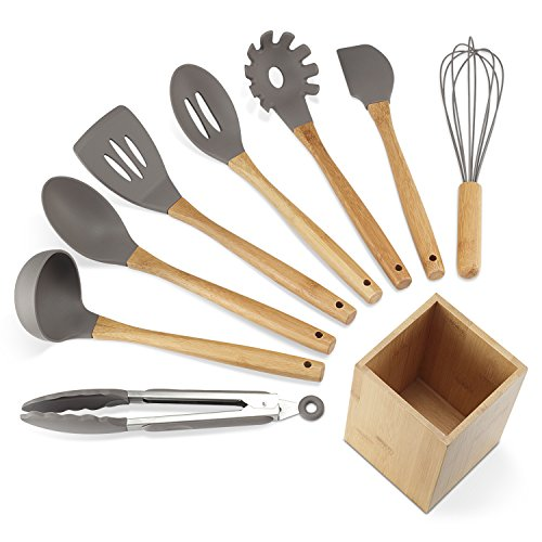 NEXGADGET Premium Silicone Kitchen Utensils 9 Piece Cooking Utensils Set  With Bamboo Wood Handles
