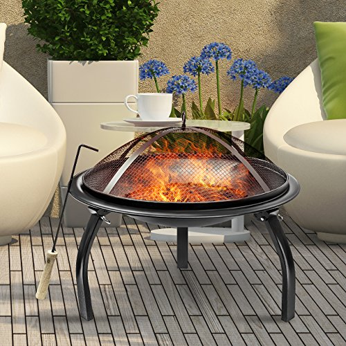 Sorbus Fire Pit 22u2033, Portable Outdoor Fireplace, Backyard Patio Fire Bowl,  Foldable Legs, U2013 Includes Safety Mesh Cover, Poker Stick And Carry Bag, ...