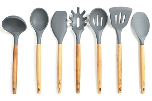 Lively Home Goods 7 Piece Premium Silicone Kitchen Cooking Utensils Set  With Natural Bamboo Handles