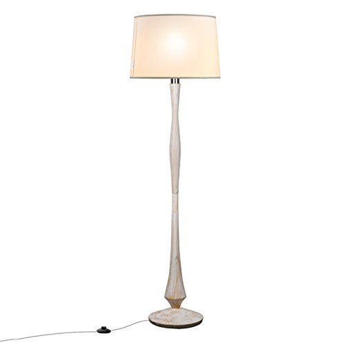 Tomons simple scandinavian style white washed wood floor lamp white tomons simple scandinavian style white washed wood floor lamp white linen shape e26 aloadofball Image collections