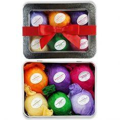Bath Bomb Gift – 6 Vegan All Natural Essential Oil Lush Fizzies