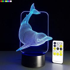 Kids Night Light Animal Dolphin 7 Colors Change with Remote Control